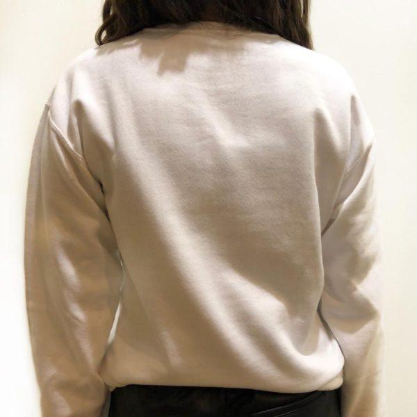 Retro, felpa girocollo di colore bianco