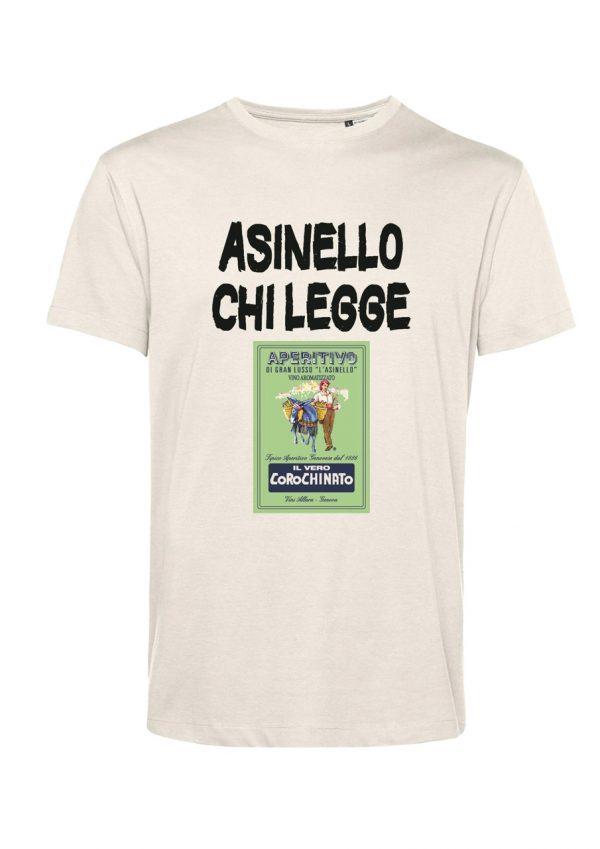 T-shirt Asinello Corochiato Asinello chi legge natural-bianco